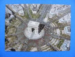 1955 - PARIS.. Arc De Triomphe  - En Survolant PARIS ... Vue Aérienne... Production Leconte..... Recto-verso - Arc De Triomphe