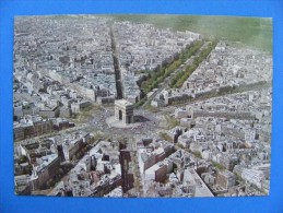 1956 - PARIS.. Arc De Triomphe  - En Survolant PARIS ... Vue Aérienne... Production Leconte..... Recto-verso - Arc De Triomphe