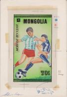 Mongolie 1986 Y&T 1422. Maquette. Le Timbre Définitif Est à 30 M, Et Avec Logo De La Coupe Du Monde De Football  Mexique - World Cup