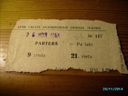 LATVIA  1966  THEATRE     TICKET ,   0 - Tickets - Entradas