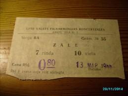 LATVIA  1966  THEATRE CONCERT    TICKET ,   0 - Tickets - Entradas