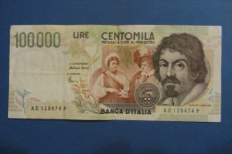 BANCONOTA DA 100.000 LIRE _ CENTOMILA LIRE ITALIA CARAVAGGIO SERIE D ITALY_20/02/1997 - [ 2] 1946-… : República