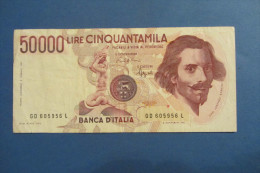 BANCONOTA DA 50.000 LIRE _ CINQUANTAMILA LIRE ITALIA BERNINI SERIE D 1°TIPO ITALY_25/01/199O - [ 2] 1946-… : República