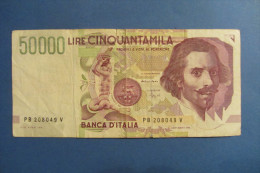 BANCONOTA DA 50.000 LIRE _ CINQUANTAMILA LIRE ITALIA BERNINI SERIE B 2°TIPO ITALY_09/12/1992 - [ 2] 1946-… : República