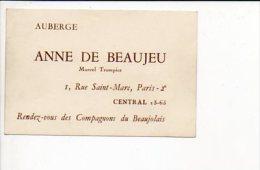 """Carte De Visite """"Auberge Anne De Beaujeu Marcel Trompier """" à Paris 2 Rue St Marc - Cartes De Visite"""