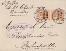 Dt. Post Belgien Brief Mef Minr.2x 13 Brüssel 18.2.17 Gel. Nach Profondeville Zensur - Besetzungen 1914-18