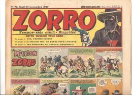 Zorro Hebdomadaire N°76 Du Jeudi 13 Novembre 1947 La Mission De Zorro - Zorro