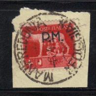 W632a - REGNO Posta Militare 5 Lire N. 12 Su Frammento Del 6/4/1945 - 1900-44 Vittorio Emanuele III