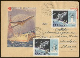 MAIL Post Cover Used USSR RUSSIA Space Rocket Sputnik Transport Ship Train Railway Week Letter - 1923-1991 URSS