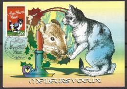 Carte Maximum Fdc, France, Paris, 1997, N°3123, Meilleurs Voeux, Chat, Souris, Chandelle, Cadeau - 1990-99