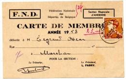 F.N.D. Andenne_carte De Membre_1953 - Revenue Stamps