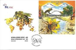 "Turkey ; 2014 FDC World Environment Day ""Bee"" - Abeilles"