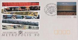 Australia 1990 Metropolis 90 Congress Melbourne Prestamped Envelope (PSE) 1st Day - Postwaardestukken