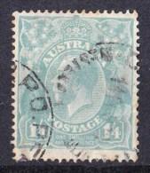 Australia 1927 King George V 1/4d Greenish Blue Small Multi Wmk P14 Used - Crease - Usados