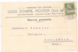 Carte Louis Schwab, Moutier. Télégrammes: Fournitures - Switzerland