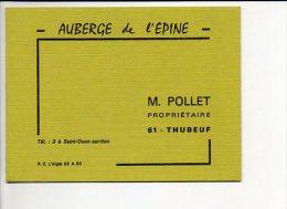 """Carte De Visite Publicitaire """"Auberge De L'Epine M. Pollet"""" à Thubeuf 61 - Cartes De Visite"""