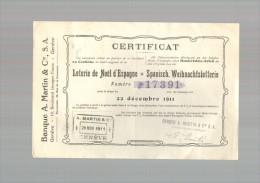 Billet De Loterie Du 22/12/1911 Loterie De Noel D'Espagne - Genève Suisse - Biglietti Della Lotteria