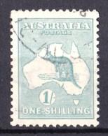 Australia 1920 Kangaroo 1s Blue-Green 3rd Wmk SIDEWAYS Die II B Used - 1913-48 Kangaroos