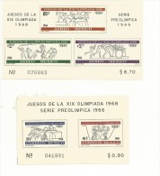 MEXIQUE  2 BLOCS NEUFS NON DENTELES JEUX OLYMPIQUES 1968 - Ete 1968: Mexico