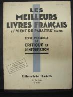 AF. Lot. 163. Les Meilleurs Livres Français, Revue Mensuelle De Critique. Mons 1932 - Books, Magazines, Comics