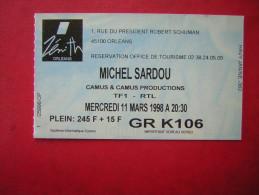 TICKET POUR PLACE DE CONCERT MICHEL SARDOU  AU ZENITH ORLEANS    MERCREDI 11 MARS 1998 A 20.30 - Tickets D'entrée