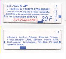Carnet De 8 Timbres (7 A Usage Permanent + 1 A 0,70 - N° 1506 A (Sqns Accent)  (73768) - Carnets
