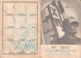 TESSERA FASCIO DI COMBATTIMENTO-VEDI P.N.F-ISCRITTO 1922 - Werbung