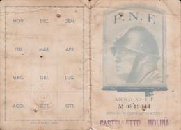 TESSERA FASCIO DI COMBATTIMENTO CASTELLETTO MOLINA-VEDI P.N.F-ISCRITTO 1922 - Pubblicitari