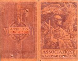 TESSERA ASSOCIAZIONE NAZIONALE COMBATTENTI-ISCRITTO 1935-CASTELLETTO MOLINA - Advertising
