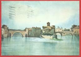 CARTOLINA VG ITALIA - ROMA SPARITA - Isola Tiberina Con I Ponti Cestio E Fabricio - 10 X 15 - ANNULLO 1974 - Bridges