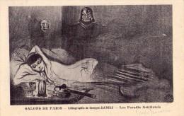 SALON DE PARIS-lithographie De Georges JAUNEAU-autographiée- Les Paradis Artificiels Fumeuse D´opium - France