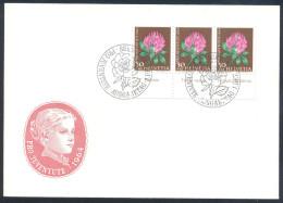Switzerland Schweiz Suisse Flora Flowers 1964 Cover Pro Juventute Rotklee (Trifolium Pratense) 3x; Edelrose Cancellation - Plants