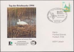 Allemagne 1994. Privatganzsache, Entier Postal Timbré Sur Commande. Journée Du Timbre, Cygne Et Son Nid, Ophrys Apifera - Cygnes