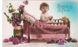 Carte Postale Ancienne Fantaisie - Bonne Fête - Fleurs - Bébé - Fantaisies