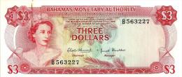 BAHAMAS ISLANDS $3 WOMAN QEII HEAD FRONT BEACH FLOWER BACK LAW1968 EF P.28 READ DESCRIPTION !! - Bahamas
