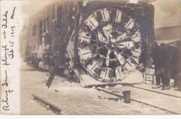 RP: Fulda , Minnesota , ROTARY SNOW PLOW PLOUGH on train , Feb. 15 1909