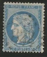 France - Cérès Siège De Paris - N°37 Bleu - Obl. GC 822 CETTE (Sète)
