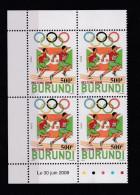 V] Bloc De 4 Avec Date Block Of 4 With Date ** Burundi Jeux Olympiques Olympics Pékin Beijing 2008