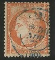 France - Cérès Siège De Paris - N°38 Orange - Obl. Cachet à Date Paris 30/11/1877 En Bleu