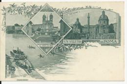 ROME CARTE FANTAISIE  UN SALUTO DA ROMA RIVE DEL TEVERE CPA BE CARTE  NEUVE DES ANNEES 1890 - Non Classés