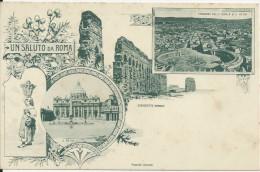 ROME CARTE FANTAISIE  UN SALUTO DA ROMA  CPA BE CARTE  NEUVE DES ANNEES 1890 - Non Classés