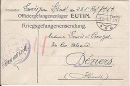 CPA - WW1 - KRIEGSGEFANGENENSENDUNG - PRISONNIER GUERRE De EUTIN à BEZIERS - 1918 - Guerra 1914-18