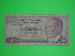 Turkey,100 Lira,yuz Lirasi,banknote,paper Money,bill,geld,vintage - Turchia