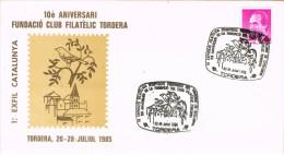 R 709. Carta Exposicion TORDERA (barcelona) 1985. Primera Exosicion Catalana - 1931-Hoy: 2ª República - ... Juan Carlos I