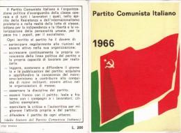 TESSERA PARTITO COMUNISTA ITALIANO 1966 - Pubblicitari
