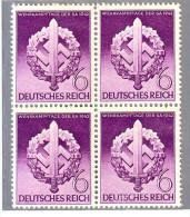 GERMANIA REICH DEUTSCHLAND GERMANY1942 GTA SPORTIVA  S:A Mi 818  QUARTINA  MNH** - Unused Stamps
