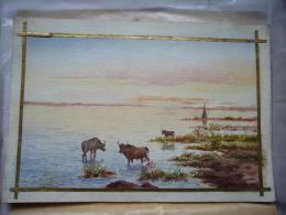 Superbe Aquarelle De Gounel En Camargue étangs Et Taureaux  28 X 40 Cm - Aquarelles