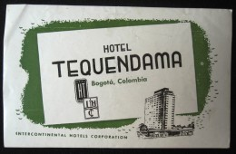 HOTEL MOTEL PENSION INTER CONTINENTAL GREE COLOMBIA DECAL STICKER LUGGAGE LABEL ETIQUETTE AUFKLEBER DECAL STICKER BOGOTA - Hotel Labels