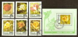 Azerbaïdjan Azerbeidjan 1996 Yvertn° 282-87 Et Bloc 25 (°) Used Cote 7,00 Euro Flore - Azerbaïdjan