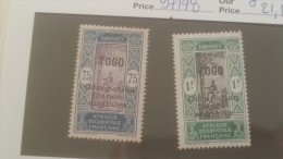 LOT 234341 TIMBRE DE COLONIE TOGO NEUF* N�97/98 VALEUR 21,5 EUROS